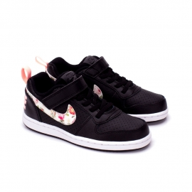 Tênis Infantil Nike Court Borough Low VF Feminino - Preto/floral
